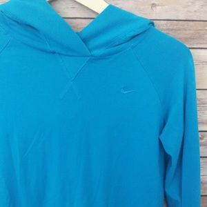 Nike blue hooded pullover top